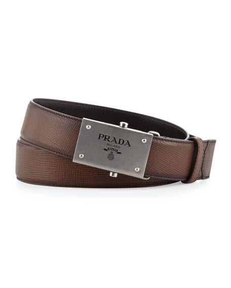 Saffiano Logo Plaque Belt, Brown