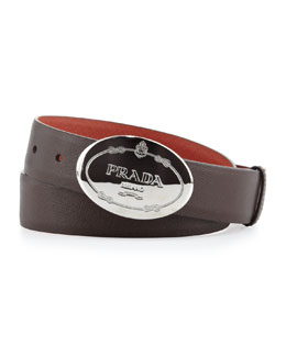 Prada Reversible Saffiano Plaque Belt, Orange/Brown