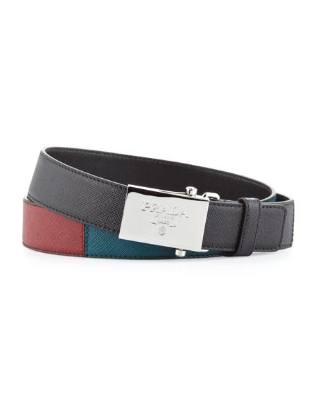 Tricolor Saffiano Plaque Belt, Black/Red/Teal