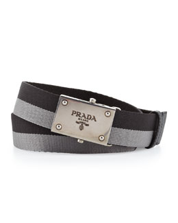 Prada Bicolor Plaque Slider Belt, Black/Gray
