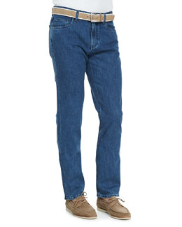 Loro Piana New York 5-Pocket Denim Jeans, Blue