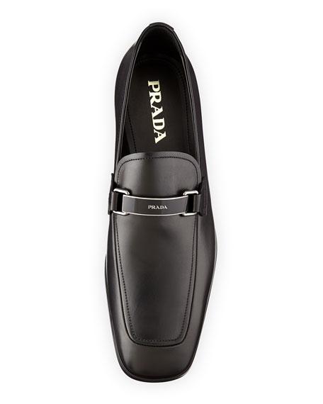 Plaque-Logo Vitello Loafer, Black