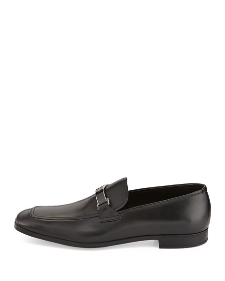 Plaque-Logo Vitello Loafer, Black