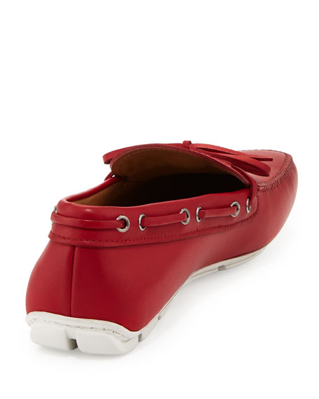Leather Tie-Front Driver, Red