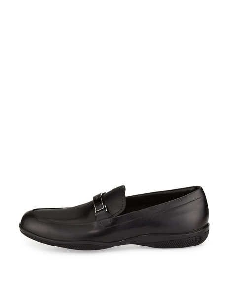 Plaque-Strap Calfskin Loafer, Black