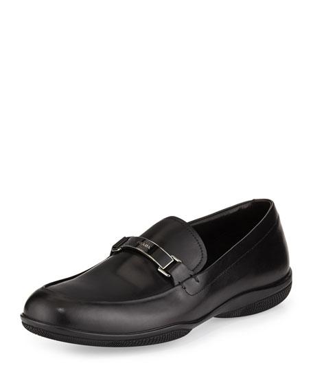 Plaque-Strap Calfskin Loafer, Black