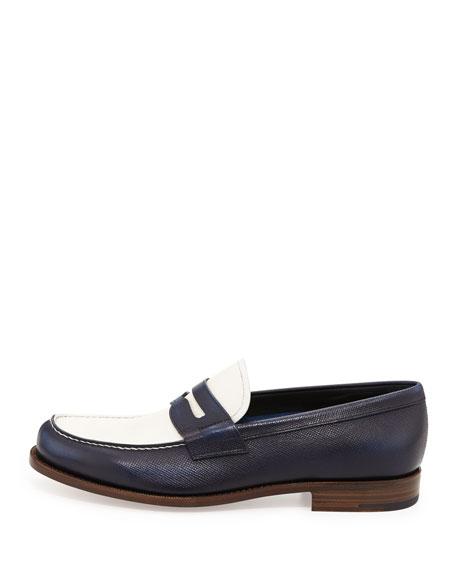 Saffiano Spectator Loafer, Blue/White