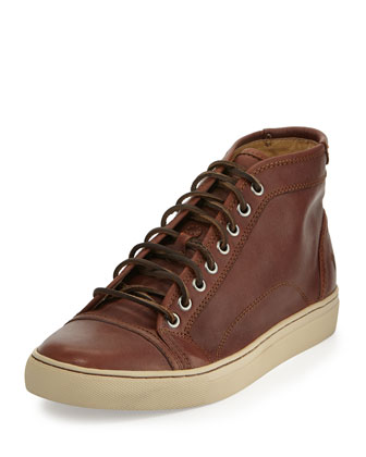 Frye Justin Mid-Top Leather Sneaker, Cognac