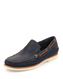 Frye Sully Woven Venetian Loafer, Navy