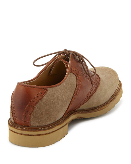 Men's Jim Suede & Leather Saddle Shoe, Sand