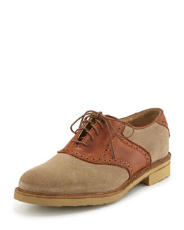 Frye Men's Jim Suede & Leather Saddle Shoe, Sand