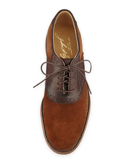 Men's Jim Suede & Leather Saddle Shoe, Brown/Red