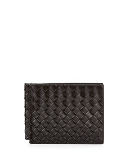Bottega Veneta Calandra Woven Leather Clip Wallet, Silver/Black