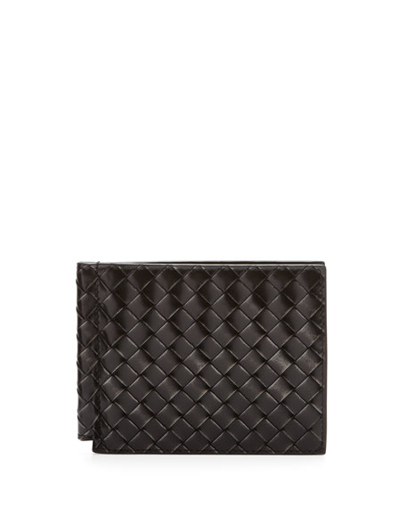 Calandra Woven Leather Clip Wallet, Silver/Black
