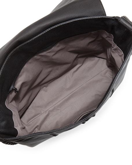 Cabriolet Men's Perforated Leather Messenger Bag, Black