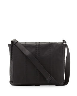 Bottega Veneta Cabriolet Men's Perforated Leather Messenger Bag, Black