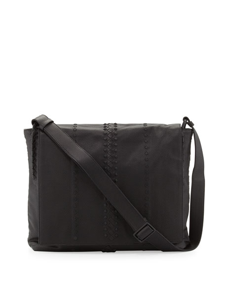 Bottega Veneta Cabriolet Men s Perforated Leather Messenger Bag ... 69603f3a5f29e