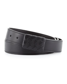 Bottega Veneta Leather Woven-Plaque Belt