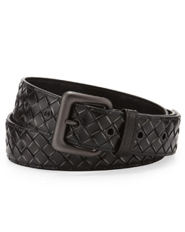 Bottega Veneta Calandre Woven Leather Belt, Black