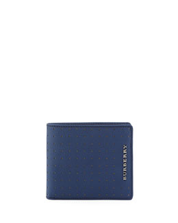 Burberry Bicolor Perforated Bi-Fold Wallet, Blue/Tan