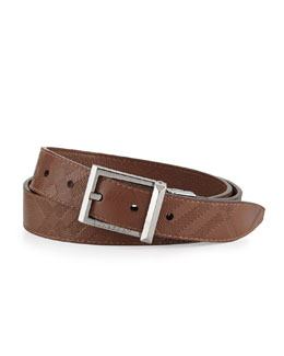 Burberry Embossed-Check Leather Belt, Brown