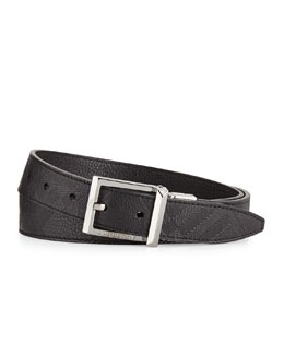 Burberry Embossed-Check Leather Belt, Black