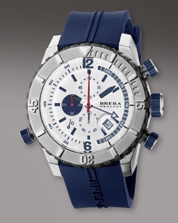 Brera Diver Watch, Blue/White