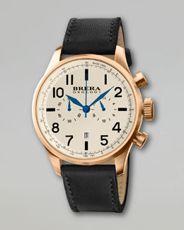 Brera Classico Chronograph Watch, Black/Gold