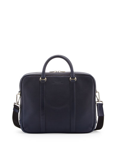 Zip-Top Leather Briefcase, Navy