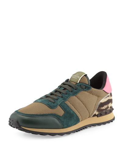 Valentino Rockrunner Mesh Sneaker with Leopard-Print Heel, Multi