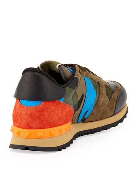 6ba92bcf24f19 Valentino Men's Rockrunner Camo Sneaker, Blue/Orange
