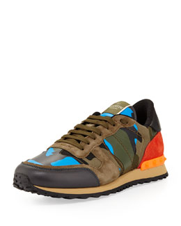 Valentino Men's Rockrunner Camo Sneaker, Blue/Orange