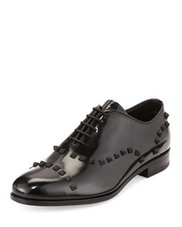 Valentino Patent Stud-Trim Lace-Up Derby, Black