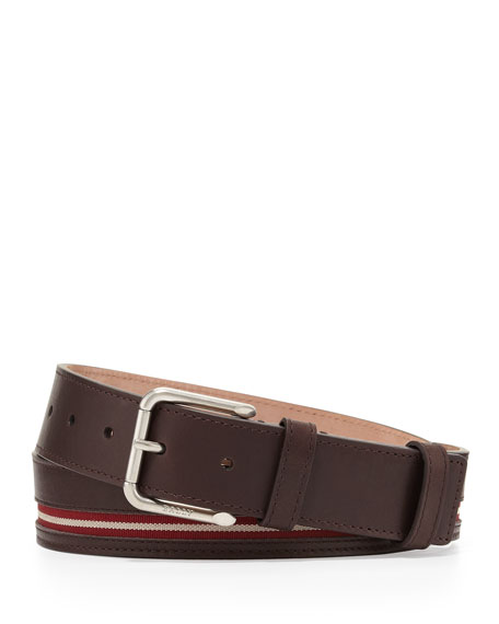 Bally Colimar Stripe-Inlaid Belt, Chocolate