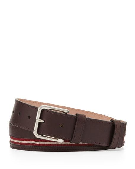 Bally Colimar Stripe-Inlaid Belt, Chocolate