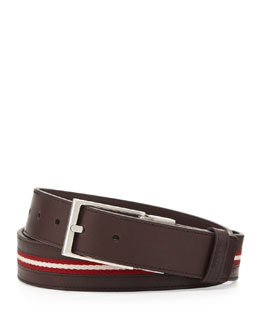 Bally Tamer Reversible Web-Stripe Belt, Chocolate