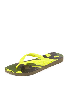 Valentino by Havaianas Rockstud Camo-Print Flip Flop, Yellow