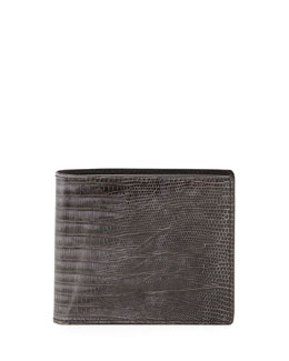 Tom Ford Lizard Bi-Fold Wallet, Dark Gray