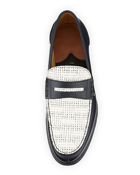 Konrad Woven-Leather Loafer, Navy/White