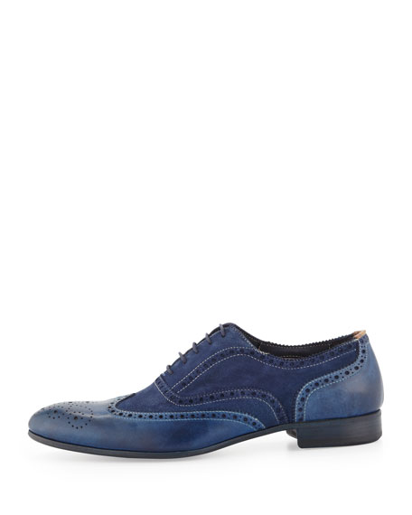 Miller Dip-Dyed Leather Wing-Tip, Navy