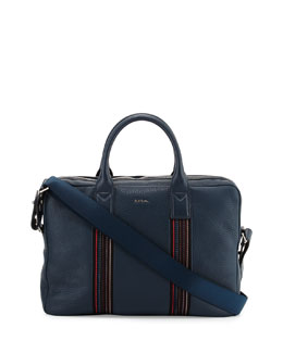 Paul Smith Stripe-Webbing Slim Briefcase, Teal