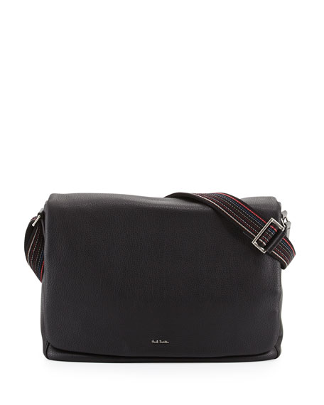 Men's Striped-Strap Messenger Bag, Black