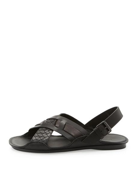 Woven Leather Crisscross Sandal, Black