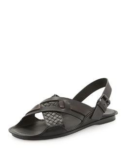 Bottega Veneta Woven Leather Crisscross Sandal, Black