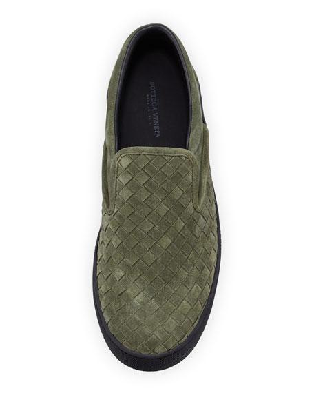 Woven Suede Slip-On Sneaker, Green