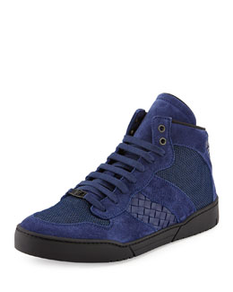 Bottega Veneta Men's Mesh High-Top Sneaker, Blue