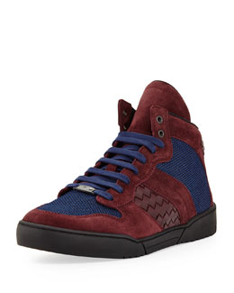 Bottega Veneta Men's Mesh High-Top Sneaker, Blue/Burgundy