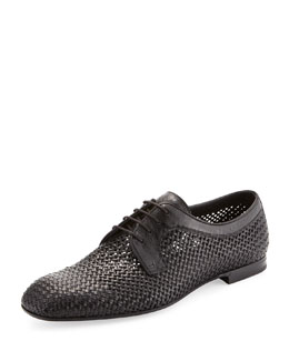 Bottega Veneta Alfride Open-Weave Lace-Up, Black