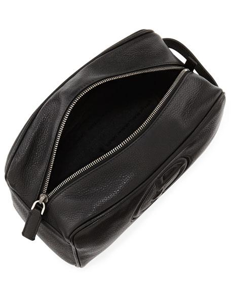 Leather Logo Zip Dopp Kit, Black