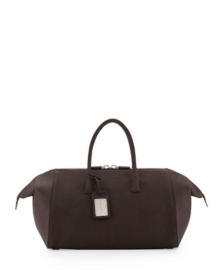 Men's Leather Runway Duffel Bag, Dark Brown